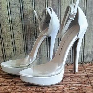 White sheer toe pumps